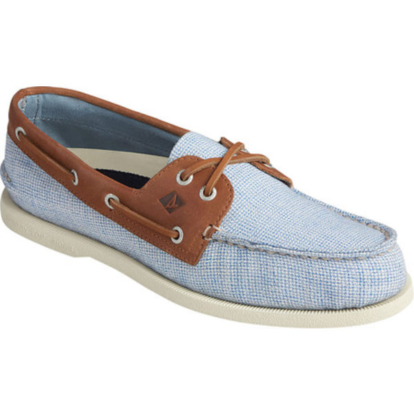 トップサイダー メンズ デッキシューズ シューズ Authentic Original 2-Eye Gingham Boat Shoe Blue/Tan Leather/Textile