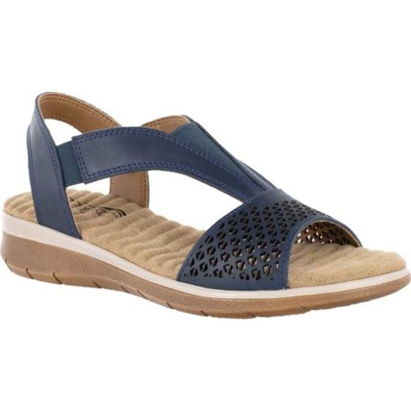 イージーストリート レディース サンダル シューズ Marley Comfort Wave Slingback Sandal Navy Leather