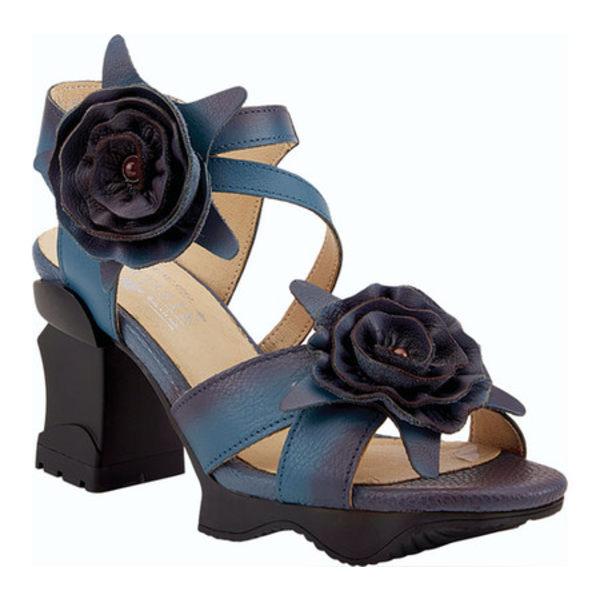 スプリングステップ レディース サンダル シューズ Shelly Ankle Strap Sandal Blue Leather