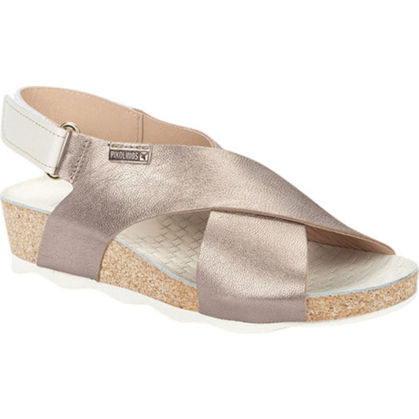 ピコリーノス レディース サンダル シューズ Mahon Wedge Slingback Sandal W9E-0912 Stone Metallic Calfskin