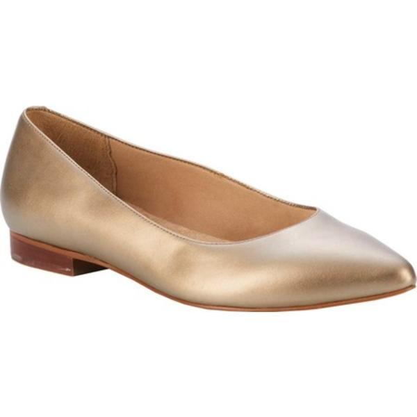 ウォーキング クレイドル レディース サンダル シューズ Reece Pointed Toe Flat Soft Gold Metallic Leather