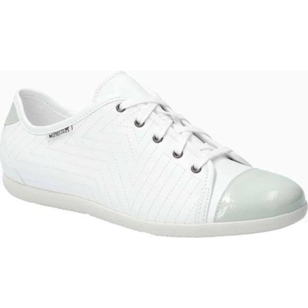 メフィスト レディース オックスフォード シューズ Ketty Cap Toe Sneaker White Silk/Vernis Fripe Smooth Leather