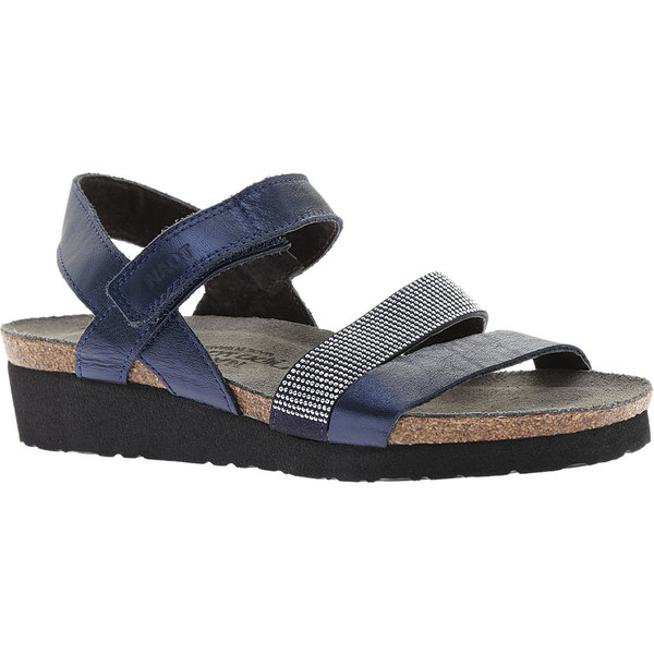 ナオト レディース サンダル シューズ Krista Strappy Wedge Sandal Polar Sea Leather/Dark Blue with Nickel Rivets