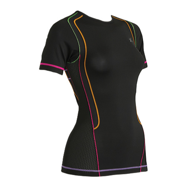 CW-X レディース シャツ トップス Short-Sleeved Ventilator Web Top Black/Rainbow