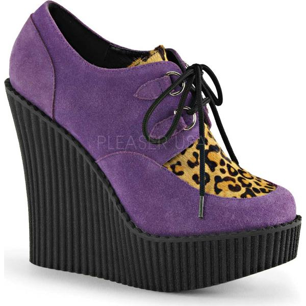 デモニア レディース ヒール シューズ Creeper 304 Wedge Oxford Purple Vegan Suede/Leopard Pony Hair