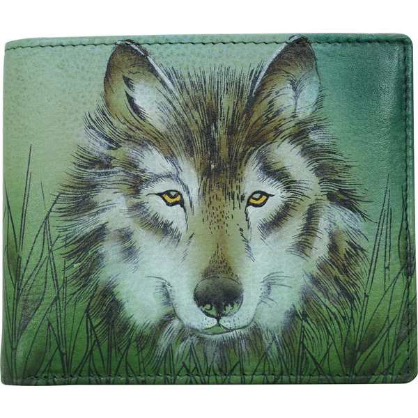 アヌシュカ メンズ 財布 アクセサリー Hand Painted Two Fold Organizer Wallet Western Wolf