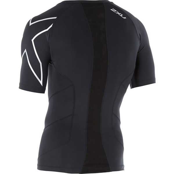 2XU メンズ シャツ トップス Short Sleeve Compression Top Black/Silver