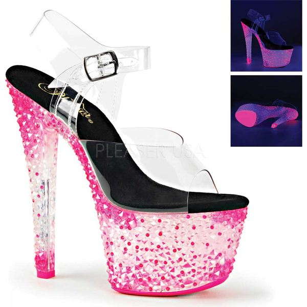 プリーザー レディース サンダル シューズ Crystalize 308PS Platform Ankle-Strap Sandal Clear PVC/Neon Icy Hot Pink
