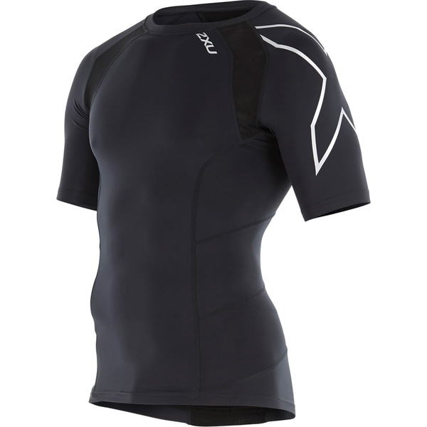 2XU メンズ シャツ トップス Elite Compression Long Sleeve Top Black/Silver X