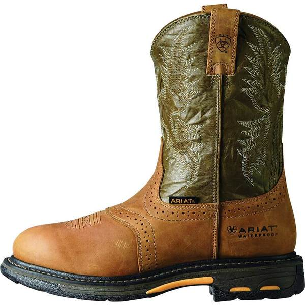 アリアト メンズ ブーツ&レインブーツ シューズ Workhog Pull-On H2O Army Green/Aged Bark Full Grain Leather