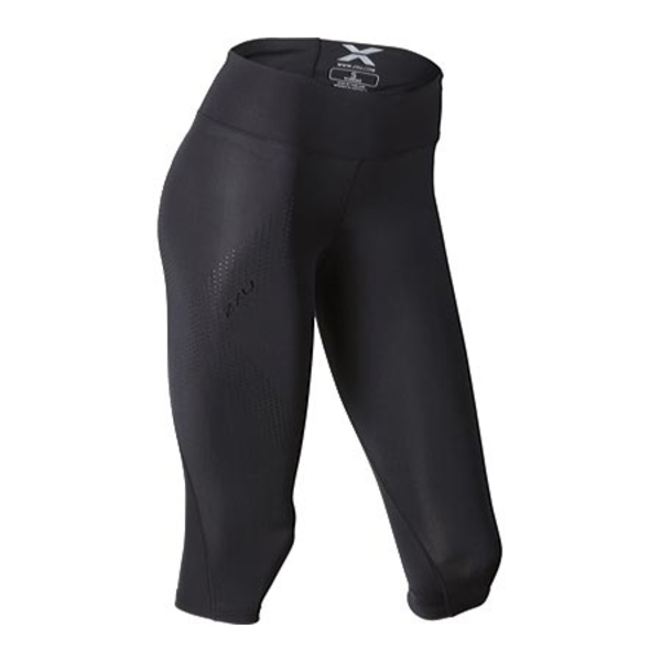 2XU レディース レギンス ボトムス Mid-Rise 3/4 Compression Tight Black/Dotted Black Logo