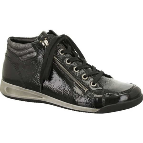 アラ レディース スニーカー シューズ Rylee 44410 Black Crinkle Patent/Metallic Accent