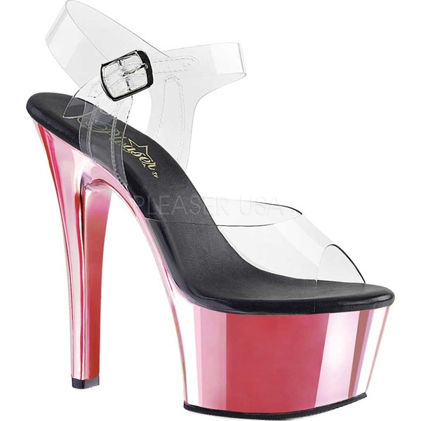 プリーザー レディース サンダル シューズ Aspire 608 Ankle-Strap Sandal Clear PVC/Bright Pink Chrome