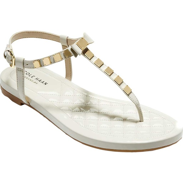 コールハーン レディース サンダル シューズ Tali Mini Bow Studded Thong Sandal Pumice Stone Synthetic Patent