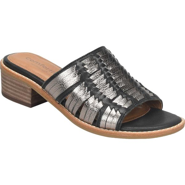 コンフォーティバ レディース サンダル シューズ Brileigh Slide Black/Anthracite Cow Oily Vegetable/Cow Metallic