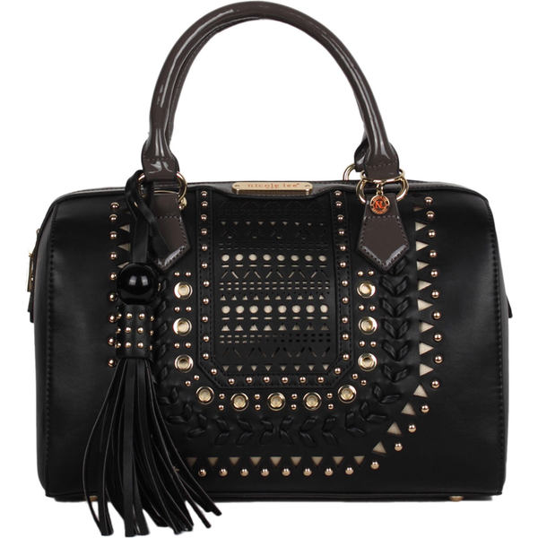 ニコルリー レディース ハンドバッグ バッグ Anouska Braided Intricate Cutout Design Boston Bag Black