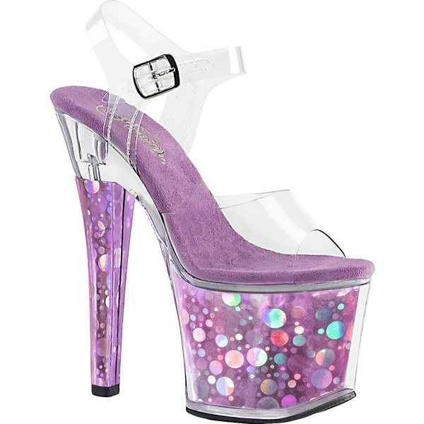 プリーザー レディース サンダル シューズ Radiant 708BHG Ankle-Strap Sandal Clear Synthetic/Purple Hologram
