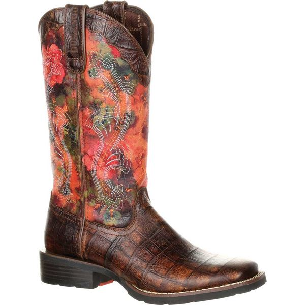 ヂュランゴ レディース ブーツ&レインブーツ シューズ DRD0226 Mustang Faux Exotic Pull-on Cowgirl Boot Gator Emboss/Floral Rose Full Grain Leather