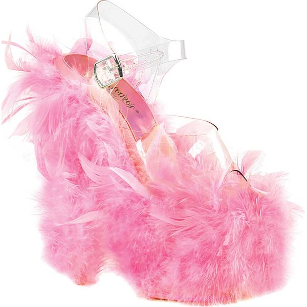 プリーザー レディース サンダル シューズ Adore 708F Ankle Strap Sandal Clear/Neon Baby Pink Marabou Feather Synthetic