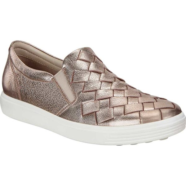 エコー レディース スニーカー シューズ Soft 7 Woven Slip-On Warm Grey Metallic Cow Leather