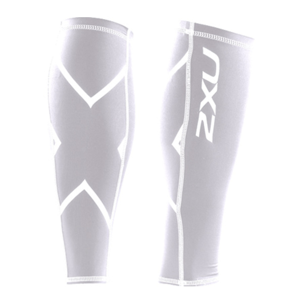 2XU メンズ Tシャツ トップス Compression Calf Guard White/White