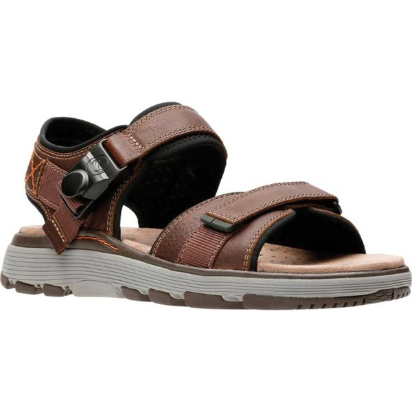 クラークス メンズ サンダル シューズ Un Trek Part Active Sandal Dark Tan Full Grain Leather