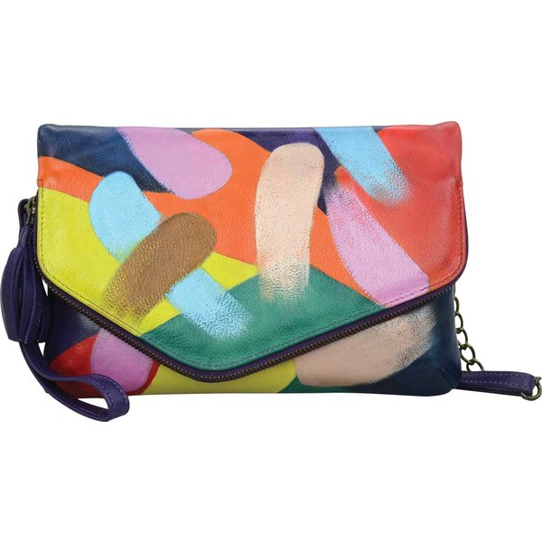 アヌシュカ レディース ハンドバッグ バッグ Hand Painted Convertible Envelope Clutch Wristlet Painterly Palette