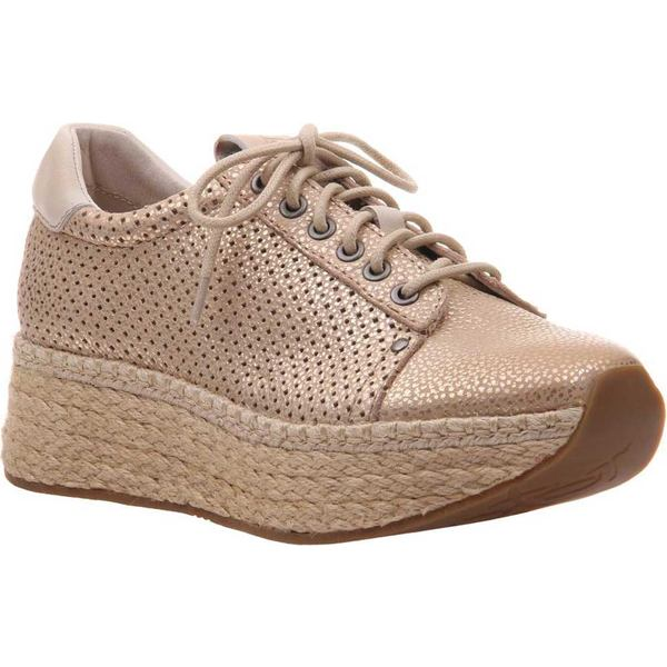 オーティービーティー レディース スニーカー シューズ Meridian Sneaker New Gold Perforated Brushed Metallic Leather