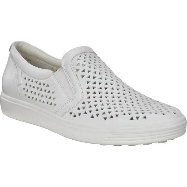 エコー レディース スニーカー シューズ Soft 7 Laser Cut Slip-On White Full Grain Leather