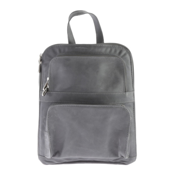 Tablet Backpack バックパック・リュックサック メンズ Slim ピエールレザー バッグ W/ Pockets 3067 Front Charcoal