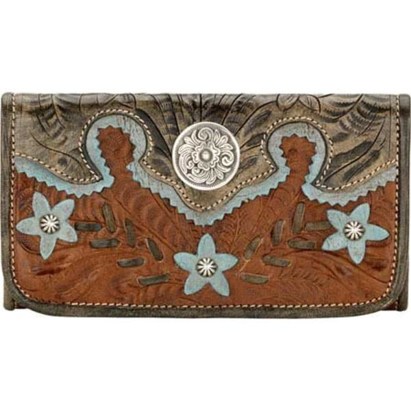 アメリカンウェスト レディース 財布 アクセサリー Desert Wildflower Tri Fold Wallet Antique Brown/DistressedCharcoal Brown/Sky Blue