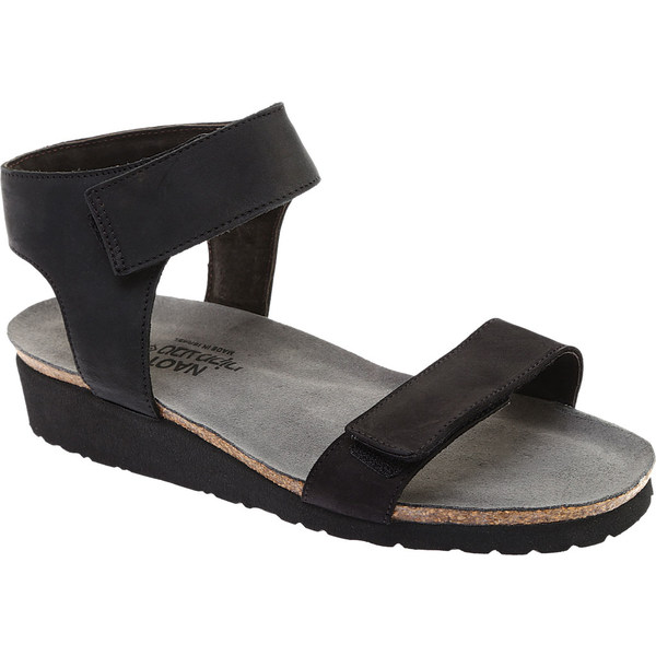 ナオト レディース サンダル シューズ Alba Ankle Strap Wedge Sandal Black Velvet/Nubuck Leather