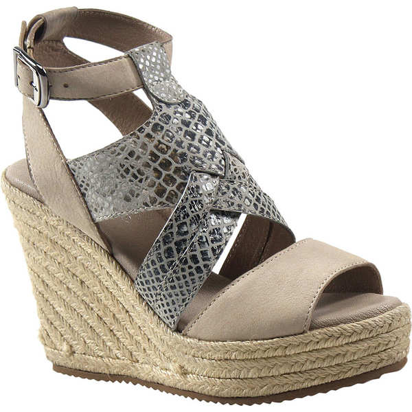ディバトゥルー レディース サンダル シューズ Hug Gable Wedge Sandal Black/White/Beige Snake Print Leather