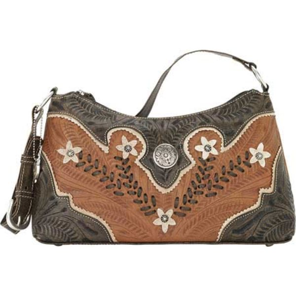 アメリカンウェスト レディース ハンドバッグ バッグ Desert Wildflower Zip-Top Shoulder Bag Golden Tan/Distressed Charcoal/Cream