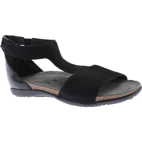 ナオト レディース サンダル シューズ Nala Flat Sandal Black Velvet Nubuck/Luster Leather