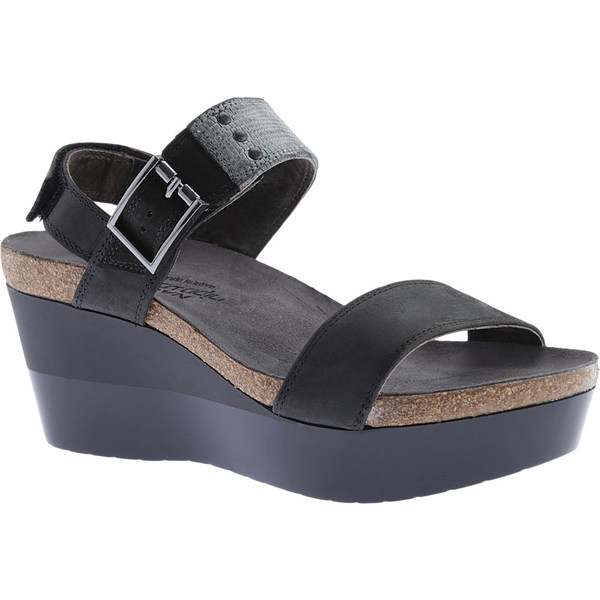 ナオト レディース サンダル シューズ Alpha Wedge Sandal Oily Coal Nubuck/Reptile Gray/Black Velvet Nubuck
