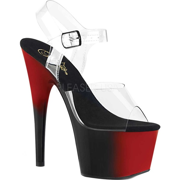 プリーザー レディース サンダル シューズ Adore 708BR Platform Ankle Strap Sandal Clear/Red/Black Synthetic