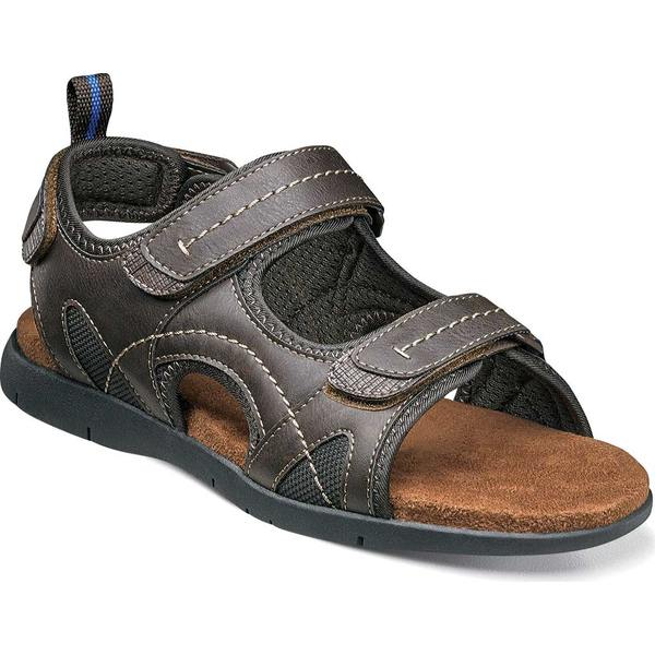 ノンブッシュ メンズ サンダル シューズ Rio Grande Three Strap River Sandal Brown Faux Leather