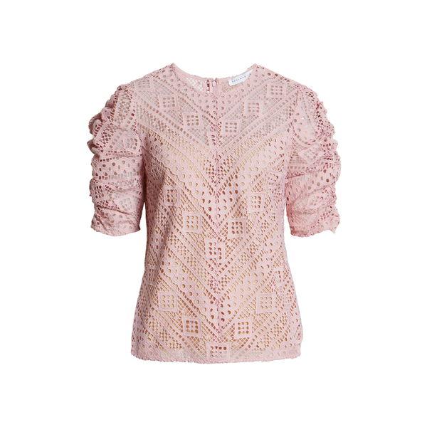 エンドレスローズ レディース Tシャツ トップス Chevron Stripe Lace Top Pink