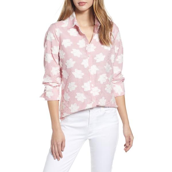 フォックスクラフト レディース シャツ トップス Havana Clip Floral Stripe Button-Up Shirt Desert Rose