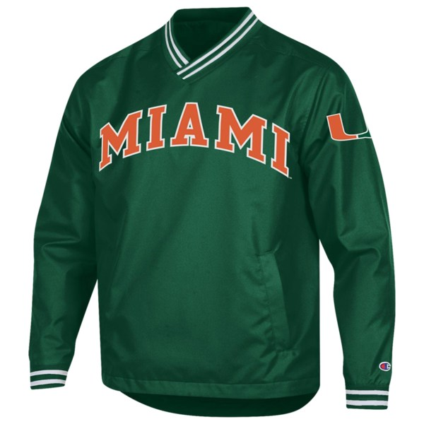 チャンピオン メンズ ジャケット&ブルゾン アウター College Scout Pullover Jacket NCAA | Miami (Fla.) Hurricanes | Green/Orange/White
