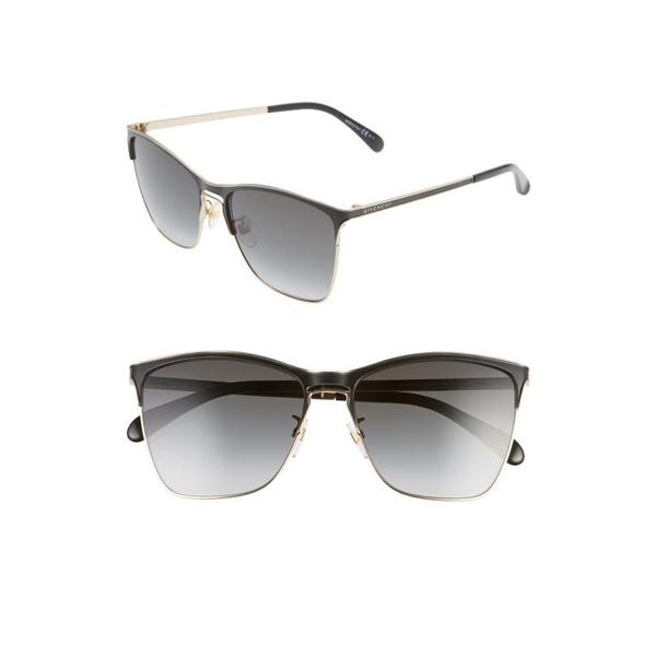 ジバンシー レディース サングラス&アイウェア アクセサリー 58mm Cat Eye Sunglasses Black Gold/ Dkgrey Gradient