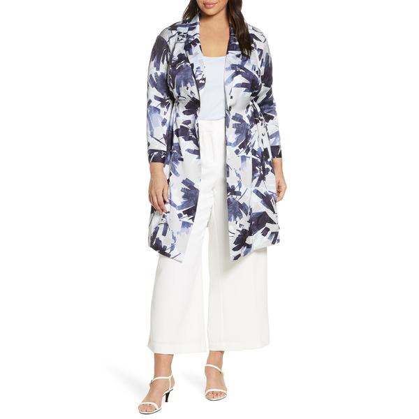 ニックプラスゾーイ レディース ジャケット&ブルゾン アウター NIC+ZOE Inky Flowers Satin Crepe Long Jacket (Plus Size) Blue Multi