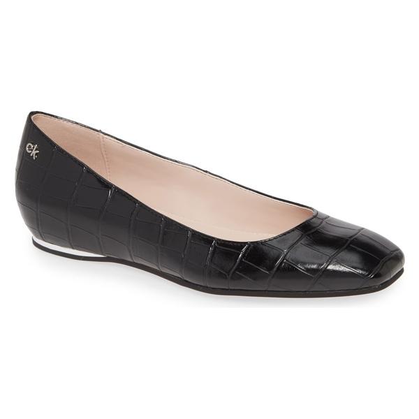カルバンクライン レディース サンダル シューズ Calvin Klein Heidy Skimmer Flat (Women) Black Croco Embossed Leather
