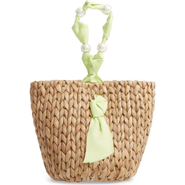 パメラマンソン レディース ハンドバッグ バッグ Pamela Munson Isla Bahia Small Straw Basket Key Lime