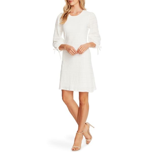 セセ レディース ワンピース トップス CeCe Seersucker Cotton Blend Lace Dress Soft Ecru