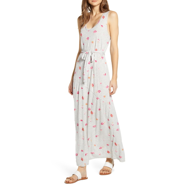 ラッキーブランド レディース ワンピース トップス Lucky Brand Eliza Floral Print Belted Maxi Dress Heather Grey Multi