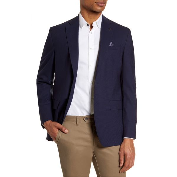 テッドベーカー メンズ ジャケット&ブルゾン アウター Ted Baker London Karl Trim Fit Stretch Solid Wool Blazer Blue