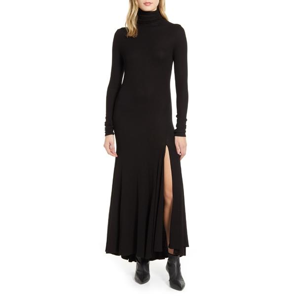 エージー レディース トップス ワンピース True Black 全商品無料サイズ交換 エージー レディース ワンピース トップス AG Chels Front Slit Long Sleeve Maxi Dress True Black