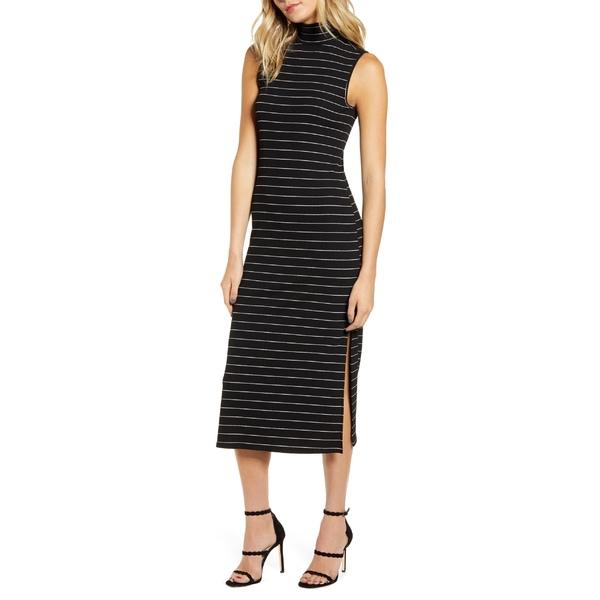 ペイジ レディース ワンピース トップス PAIGE Danisha Metallic Stripe Mock Neck Midi Dress Black W/ Silver